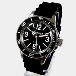 """Classic """"AMPHIBIA"""" automatic diver watch with SuperLumiNova luminous dial hands, KILLERWAL case back and NATO strap by VOSTOK-Watches24, stainless steel, polished, ø40mm"""