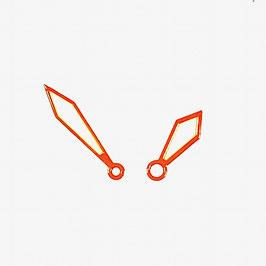 Orangene Schwertzeiger 2 LACO Zeiger mit SuperLumiNova für KOMANDIRSKIE und AMPHIBIA Uhren von Vostok