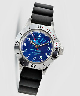 """Russian Automatik diver watch """"AMPHIBIA K-12""""  with SCUBA DUDE case back by VOSTOK, 200m water proof, stainless steel, polished, ø40mm"""