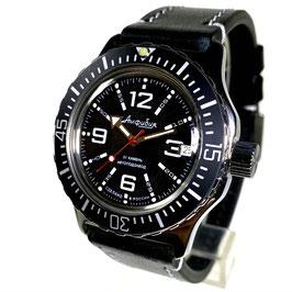 Automatik Uhr Taucheruhr AMPHIBIA mit modifizierter Lünette und Glasboden von VOSTOK, 200m wasserdicht, Edelstahl, poliert, ø42mm