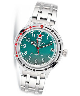 "Russian automatic watch VOSTOK Komandirskie ""VDV GREEN"" by VOSTOK, 200m water proof, stainless steel, polished, ø40mm"
