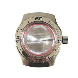 Gehäuse 160 für VOSTOK AMPHIBIA Uhren von VOSTOK, Lünette blaue Minuten, Edelstahl, gebürstet, komplett