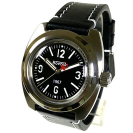 """Legendary """"AMPHIBIA 1967"""" automatic watch by VOSTOK-Watches24, sandwich dial, SuperLumiNova, glass case back, tuned movement, stainless steel, polished, ø41,5mm"""