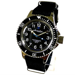 """Russian Automatik diver watch """"AMPHIBIA K-12""""  black bezel with ceramic insert and NATO strap by VOSTOK, 200m water proof, stainless steel, polished, ø40mm"""
