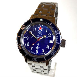 "Russian automatic watch VOSTOK KOMANDIRSKIE diver watch ""SUBMARINE COMMANDER BLUE"" with blue bezel by VOSTOK, 200m water proof, stainless steel, polished, ø40mm"