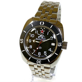 """Automatik watch """"KOMANDIRSKIE"""" in case 710 with black luminous bezel and glass case back by Vostok-Watches24, stainless steel, polished, ø41mm"""