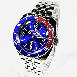 VOSTOK AMPHIBIA SCUBA DUDE automatic watch with sunburst sandwich dial with SuperLumiNova, paddle hands, PEPSE bezel and Scuba Dude case back by VOSTOK-Watches24, stainless steel, polished, ø41,5mm