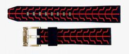22mm VOSTOK silicone strap SPORT, black / red