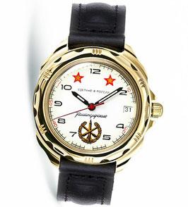 """Armbanduhr KOMANDIRSKIE """"Luftlandetruppen"""" von VOSTOK, poliert, Titannitrid beschichtet, ø40mm"""