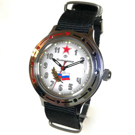 """Russian automatic watch VOSTOK KOMANDIRSKIE """"RUSSIA"""" with ZULU strap by VOSTOK, polished, ø40mm"""