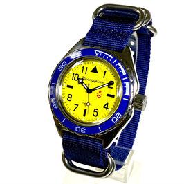 """Russische Automatikuhr """"KOMANDIRSKIE"""" mit ALBATROS - Boden und NATO Armband von Vostok-Watches24, Edelstahl, poliert, ø42mm"""