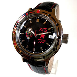 "VOSTOK ""AMPHIBIA"" K-42 automatic watch ""KGB"" with glass case back and leather strap by VOSTOK, 200m water proof, stainless steel, polished, ø40mm"