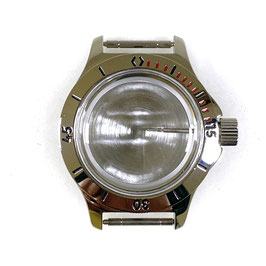 Case 120 for VOSTOK AMPHIBIA watches with bezel (red minute marks), stainless steel, polished, complete