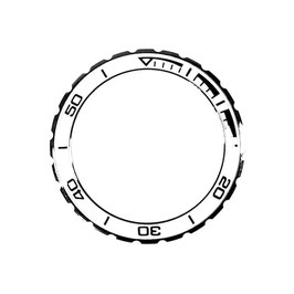 Bezel with white insert and black lettering for VOSTOK KOMANDIRSKIE watches, stainless steel