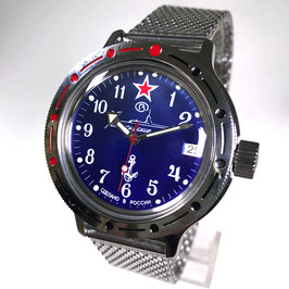 "Russian automatic watch VOSTOK KOMANDIRSKIE diver watch ""SUBMARINE COMMANDER""with Milanaise bracelet by VOSTOK, 200m water proof, stainless steel, polished, ø40mm"