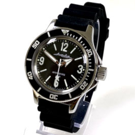 """Classic """"AMPHIBIA"""" automatic diver watch with SuperLumiNova luminous dial and hands, glass case back, PU strap by VOSTOK-Watches24, stainless steel, polished, ø40mm"""