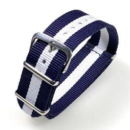 18mm NATO Armband Nylon blau weiß