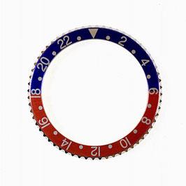 24hr bezel with blue / red insert for VOSTOK KOMANDIRSKIE watches, stainless steel, ø40mm