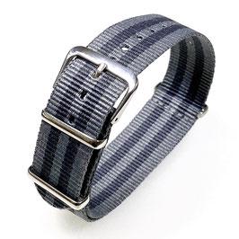 18mm NATO Armband Nylon grau und dunkel grau