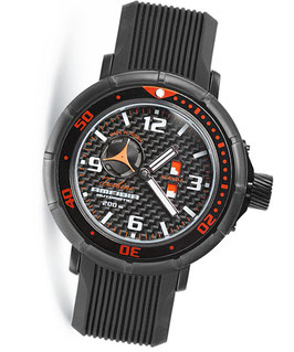 "Automatik wrist watch ""AMFIBIA TURBINA"" with Day & Night indication by VOSTOK, 200m water proof, stainless steel, black PVD coated, carbon dial, ø45mm"