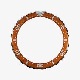 Bezel with minutes for VOSTOK KOMANDIRSKIE watches, stainless steel, orange insert, LÜ-INS-73