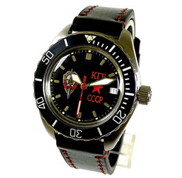 """Automatik watch """"KOMANDIRSKIE KGB"""" with large glas back, tuned movement, scalfskin strap by Vostok-Watches24, stainless steel, brushed, ø42mm"""