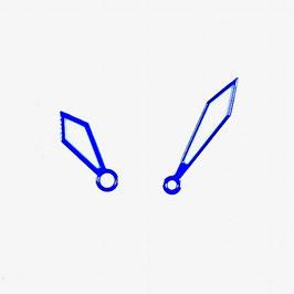 Blaue Schwertzeiger 2 LACO Zeiger mit SuperLumiNova für KOMANDIRSKIE und AMPHIBIA Uhren von Vostok