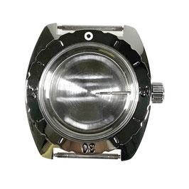 """Gehäuse 150 mit """"B""""-Krone, Metallwerkhaltering und polierter Lünette für VOSTOK AMPHIBIA Uhren von VOSTOK, Edelstahl, poliert, komplett"""