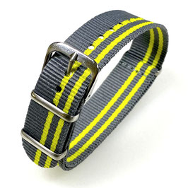 18mm NATO strap for VOSTOK watches, grey yellow, NATO10-18mm