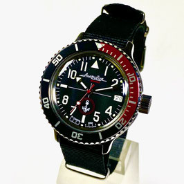 """VOSTOK """"AMPHIBIA"""" K-42 automatic watch """"MARINES"""" with bicolour bezel, glass case back and NATO strap by VOSTOK, 200m water proof, stainless steel, polished, ø40mm"""