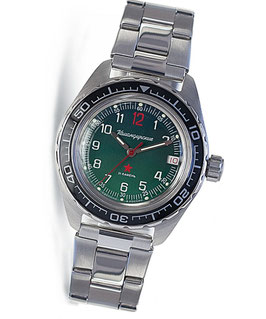 "Automatik watch ""KOMANDIRSKIE K-02"" with glass case back by VOSTOK, stainless steel, brushed, ø42mm"