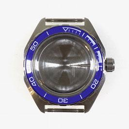 Gehäuse 650 mit blauer Lünette für VOSTOK KOMANDIRSKIE Uhren von VOSTOK, Edelstahl, gebürstet, komplett