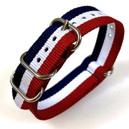 20mm ZULU strap for VOSTOK watches, nylon, blue white red, ZULU07-20mm