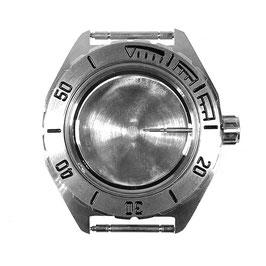 Gehäuse 650 mit gebürsteter Lünette für VOSTOK KOMANDIRSKIE Uhren von VOSTOK, Edelstahl, gebürstet, komplett