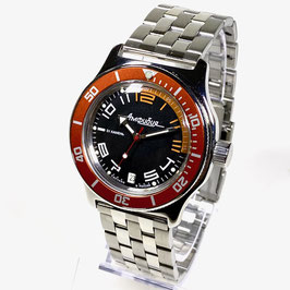 """Russian automatic watch """"AMPHIBIA K-10"""" with orange bezel and glass case back by VOSTOK, 200m water proof, stainless steel, polished, ø42mm"""