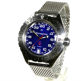 Russian automatic 24hr watch VOSTOK KOMANDIRSKIE K-65 with GMT bezel, glass bottom and mesh bracelet by VOSTOK, stainless steel, brushed, ø42mm