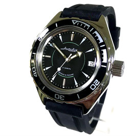 Russian automatic diver watch VOSTOK AMPHIBIA K-67 with black bezel and Killerwal case back by VOSTOK, 200m water proof, stainless steel, polished, ø41mm