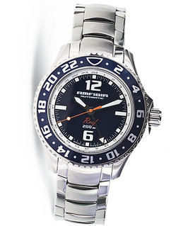 """Automatik wrist watch """"AMFIBIA REEF"""" wit additional 24hr indication by VOSTOK, 200m water proof, stainless steel, polished, ø42mm"""