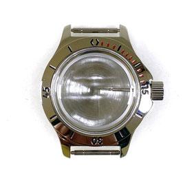 Gehäuse 120 mit Lünette mit roten Minuten für VOSTOK AMPHIBIA Uhren von VOSTOK, Edelstahl, poliert, komplett