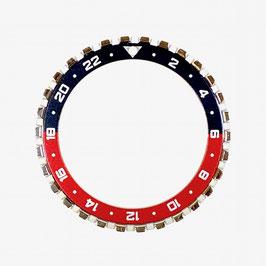 24 Std. CROWN Lünette für VOSTOK AMPHIBIA und KOMANDIRSKIE Uhren von VOSTOK, Edelstahl, poliert, schwarz rot, ø41,5mm, LÜ-INS-45
