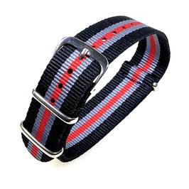 18mm NATO strap for VOSTOK watches, nylon, black grey and red stripes