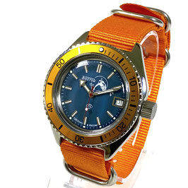 "Automatik diver watch ""SCUBA DUDE"" with orange bezel in watch case 670 with ALBATROS-case back and crown with ""B"", ZULU strap by VOSTOK, stainless steel, polished, ø42mm"