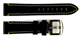 20mm, yellow stitched  AVIATOR leather strap for VOSTOK watches, calfskin, ARM-LD20-03