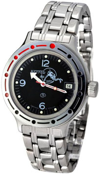"VOSTOK ""AMPHIBIA"" K-42 automatic watch ""DIVER Black"" by VOSTOK, 200m water proof, stainless steel, polished, ø40mm"