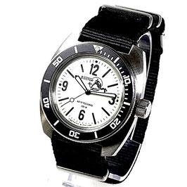 AMPHIBIA SCUBA DUDE automatic watch mit SuperLumiNova luminous dial, Scuba Dude case back und NATO strap by Vostok-Watches24, Edelstahl, gebürstet, ø41,5mm