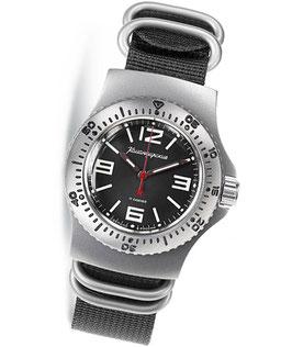 KOMANDIRSKIE RATNIK K-28 Armbanduhr von VOSTOK, Edelstahl, satiniert, 40x50,5mm