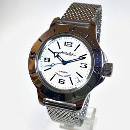 Russische Automatikuhr Taucheruhr AMPHIBIA mit Milanaise-Armband von VOSTOK, 200m wasserdicht, Edelstahl, poliert, ø40mm