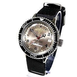 """VOSTOK """"AMPHIBIA"""" K-42 automatic diver watch """"NAVY"""" with black bezel, """"Russian Navy"""" case back and NATO strap by VOSTOK, 200m water proof, stainless steel, polished, ø40mm"""