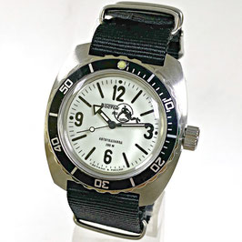"""""""AMPHIBIA SCUBA DUDE"""" automatic watch with SuperLumiNova luminous dial hands, Scuba Dude case back and NATO strap by VOSTOK-Watches24, stainless steel, brushed, ø41,5mm"""