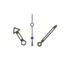 Zeiger für VOSTOK KOMANDIRSKIE und AMPHIBIA Uhren mit einem 24-er Werk, vernickelt, blaue Sekunde. Leuchtmasse SET04